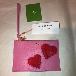Kate spade mini leather pink Wristlet red hearts